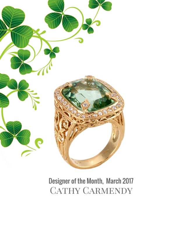 Gold Diamond Green Beryl Gemstone Ring