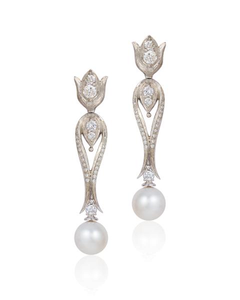 Cynthia Renee gold diamond pearl earrings 2