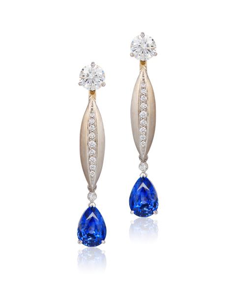 Cynthia Renee gold diamond sapphire earrings