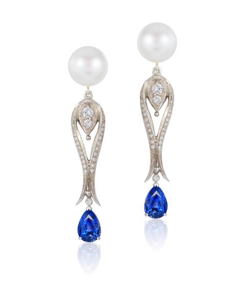 Cynthia Renee pearl sapphire earrings