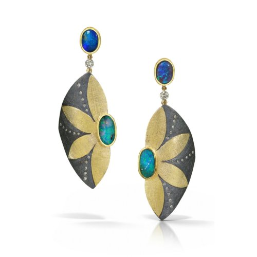 Gold earrings with diamonds & opals