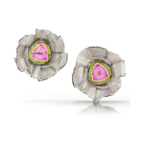 """Watermelon"" platinum earrings with diamonds & tourmaline"