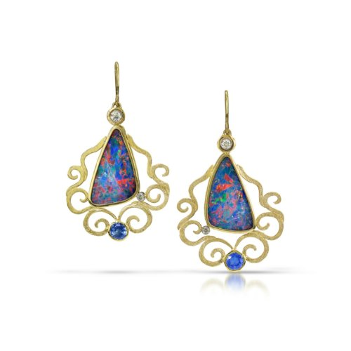 Gold earrings with diamonds, sapphires & opals