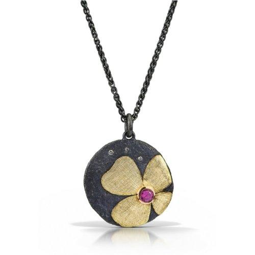 Gold pendant with diamonds & pink sapphire