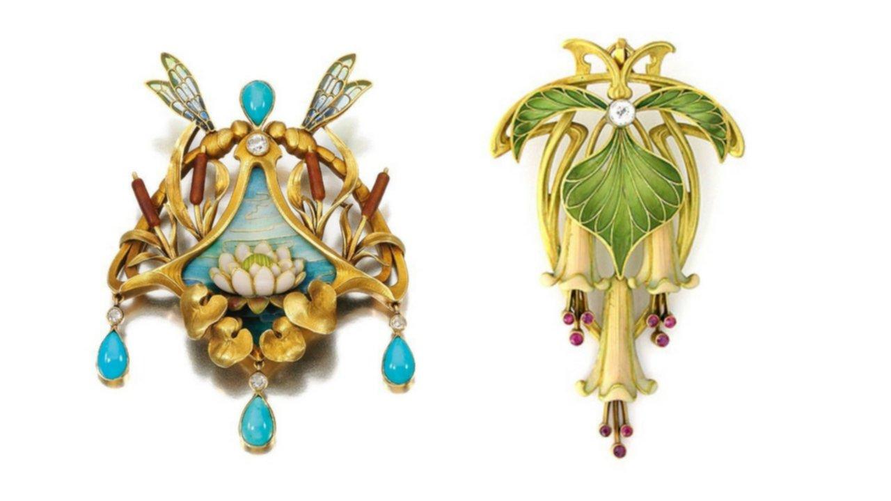 art nouveau, pendants, sandoz