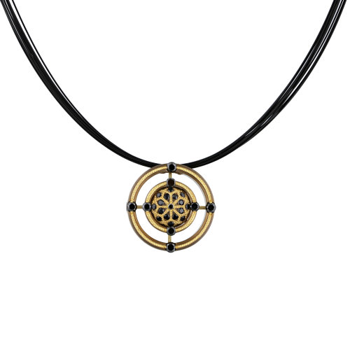 Black Diamond Mandala Bronze Pendant