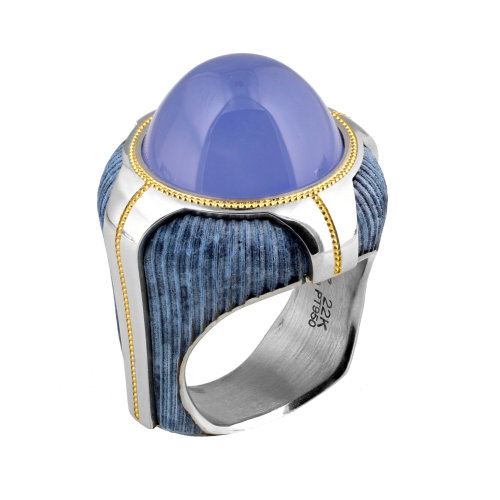 """Blue Buddha"" Chalcedony Ring"