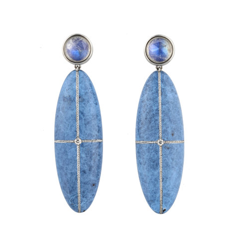 Bronze Age Blue Moon Earrings