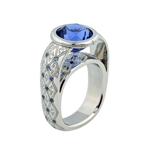 Blue Sapphire 'Couture' Ring