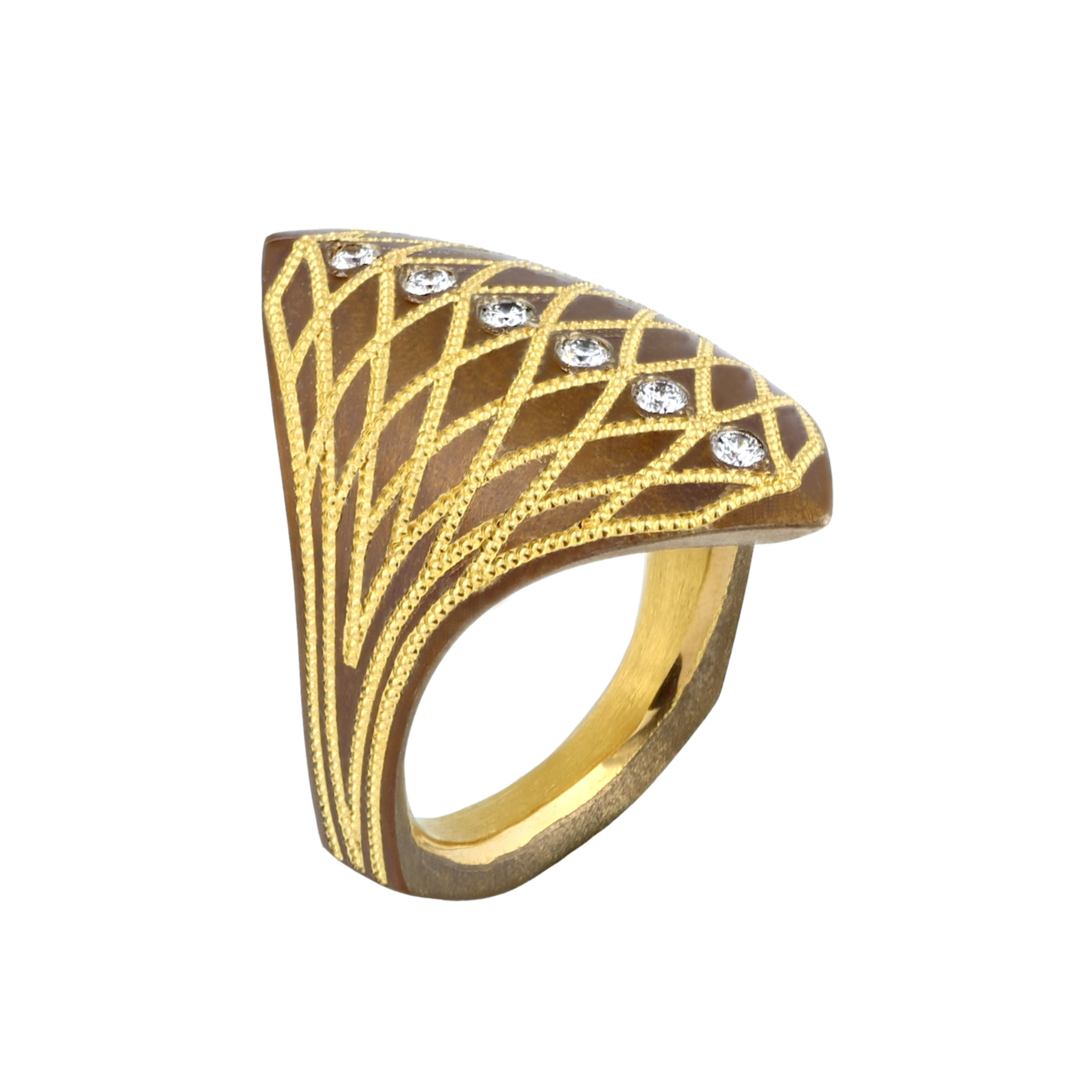 "1ffd4b6b0928 ""Lady Gladiator"" Bronze   Pure Gold Ring - Farlang"