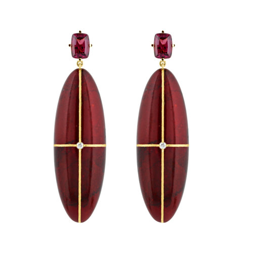 Bronze Age Rhodalite Earrings
