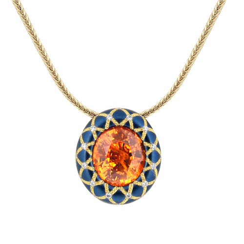 Spessartite in Blue Steel Pendant