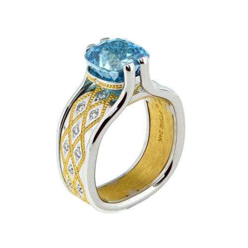 Blue Zircon Platinum Ring