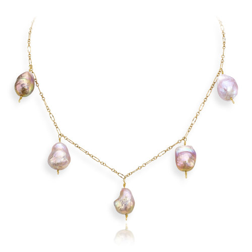 Yellow Fresh Water pearl drop Necklace