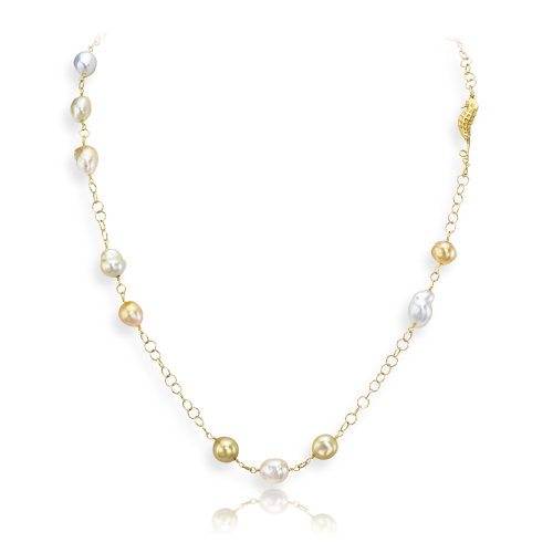 Baroque Yellow South Sea pearl Necklace with seahorse