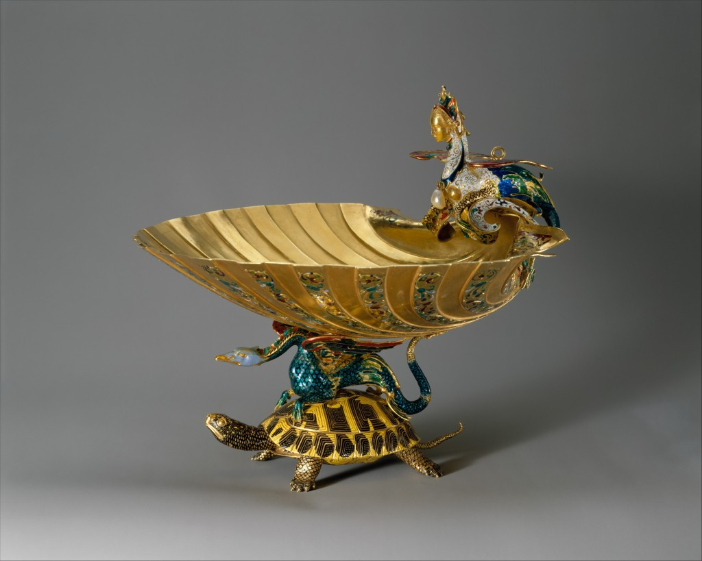 A copy of a late-Mannerist gold cup that was once in the possession of the Rospigliosi family in Rome, this object was formerly attributed to the Italian goldsmith Benvenuto Cellini.