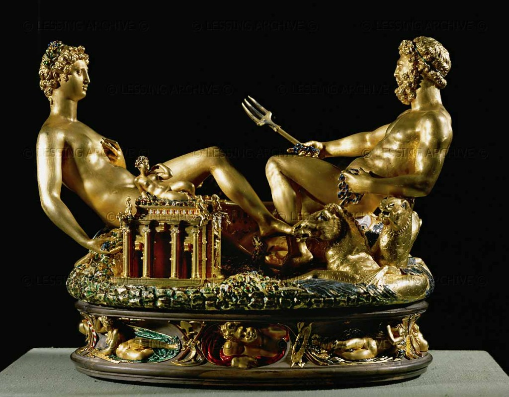 "Benvenuto Cellini's Saltcellar, called the ""Saliera"", made 1540-1543 in Paris. Gold, covered in part by enamel; base: ebony."