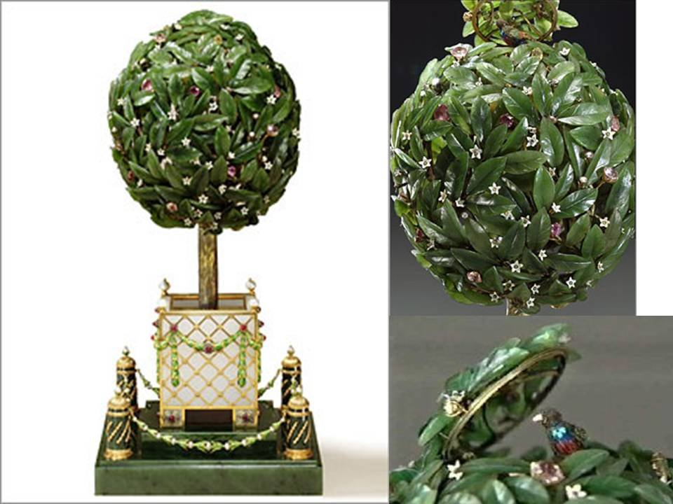 Orange Tree Egg created for Nicholas II of Russia who presented the egg to his mother, the Dowager Empress Maria Feodorovna. 1911.